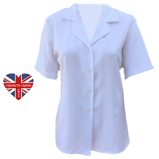 LADIES CLASSIC PLAIN WHITE BLOUSE, SHIRT, BUTTON, WORK, MADE IN UK, SIZES 10-24
