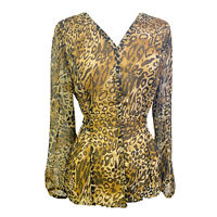 EUC Coldwater Creek Women's Leopard Print Sheer Chiffom Blouse Size XS