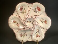 Antique French 6 Wells Majolica Faience Floral Oyster Plate