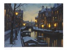 LED Bild Winter In Amsterdam Weihnachten Leinwand Wandbild 30x40cm