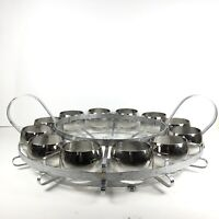 12 Mid Century Vintage Dorothy Thorpe Silver Fade Roly Poly Glasses & Holder Bar