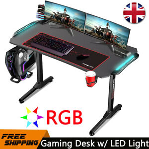 LED RGB Gaming Desk PC Computer Table Carbon Fibre Metal Racing Office Writing