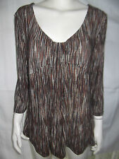 KATIES Womens 3/4 Sleeve Brown,Caramel & Cream Stripe Top size XL