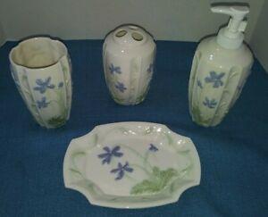 NWT 4-PC Ceramic Floral Bathroom Set Pieces Vanity