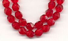 40 Czech Opal Ruby Red Round Faceted Glass Beads Loose Jewelry Making Craft 6mm