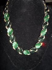 Lisner Statement Necklace Rhinestone Crystal Vintage Antique Leaf Wedding CHIC