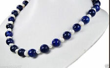 Natural 10mm Blue Lapis Lazuli & White Freshwater Pearl Necklace 18''