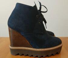 Stella Mccartney Leana Blue Faux Suede Lace Up Platform Wedge Bootie NEW 35