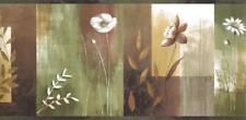 Wallpaper Border Bonnard Moden Watercolor Olive Green Tan Color Block Floral