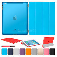 Magnetic Flip Slim Leather Smart Stand Cover with Back Case For Apple iPad 4 3 2