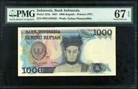INDONESIA 1000 1,000 RUPIAH 1987 P 124 SUPERB GEM UNC PMG 67 EPQ