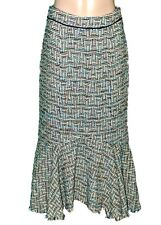 ANTHROPOLOGIE Elevenses Teal Green  Skirt Sz 2 Tweed Lined