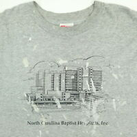 Destroyed Vtg Hanes T-Shirt 2XL Paint Distressed NC Baptist Hospital Gray Grunge