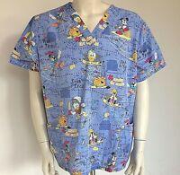 Disney Women's Scrub 2X Pirates Halloween Donald Duck Mickey Mouse Goofy
