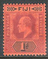 Fiji 1904 purple/black on red 1d multi-crown mint SG116