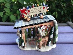 Blue Sky Clayworks Cupids Christmas Trees Heather Goldminc Tealight Candle House