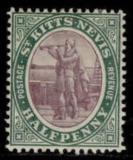 More details for st kitts-nevis edvii sg11, ½d dull purple & deep green, lh mint. cat £17.
