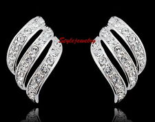 White Gold Filled Feather Inspired Stud Earring Made With Swarovski Crystal IE17