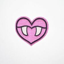Pink Vampire Heart (Iron On) Embroidery Applique Patch Sew Iron Badge