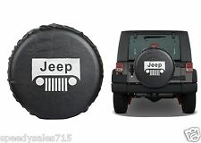 "Black Jeep Wrangler Grill Logo Spare Tire Cover Wheel R17 31""-32.6"" New USA"