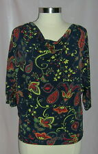 JONES NEW YORK Signature Stretch Navy Print Blouse Size S 4/6 Retail $59 NWT