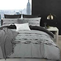Soft 100% Cotton Embroidery Duvet Quilt Cover Bedding Bed Linens Set Grey Black