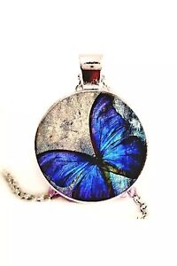 Beautiful Blue Butterfly on Pendant silver plated chain or black leather