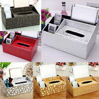 Tissue Box PU Leather Cover Paper Storage Napkin Holder Home Organizer Case