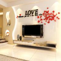 Romantic 3D Leaf LOVE Wall Stickers Art Acrylic Decals Sofa Bedroom Murals Decor