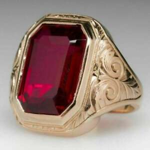 5Ct Emerald Estate Ruby Bold Men's Engagement Wedding Ring 14K Yellow Gold Over