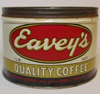 Rare Vintage 1950s EAVEY'S COFFEE KEYWIND COFFEE TIN ONE POUND RICHMOND INDIANA