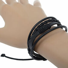 Fashion Mens Punk Handmade Bracelet Black Brown Leather Surfer Braided Wristband