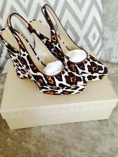 Stella McCartney Net A Porter Iconic Leopard Animal Platform Wedges NWT UK 6 39