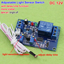 DC12V Adjustable Light Sensor Control Relay Switch Time Delay Turn On/OFF Module