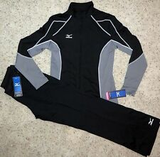 Mizuno Black Grey White Womens jacket pants Track Ladies Warmup suit Size XSmall