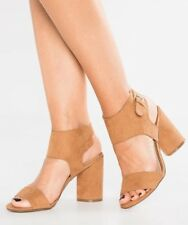 Miss Selfridge Casper Tan Block Heel Zip Sandal 6 BRAND NEW