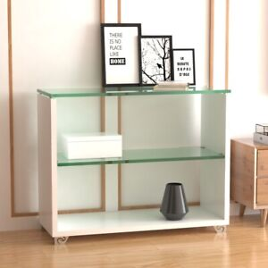 3 Tier Console Table Gloss White With Tempered Glass Top Hallway Table Shelf