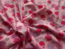 """Vintage Stretch Cotton Jersey Dress Making Fabric Pink Spots & Daisies 40"""" x 60"""""""