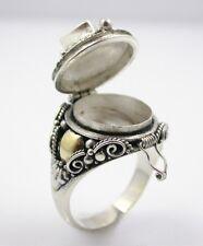 Sterling Silver 14K Gold Amethyst Poison PillBox Locket Ring Secret Compartment