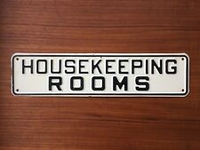 "Vtg Tin Metal HOUSEKEEPING ROOMS Nice Font Sign 12"" Long Never Used NOS"
