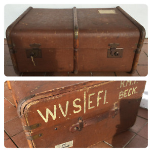 Vintage Steamer Trunk - Luggage - Bentwood Frame - British Made - Chest With Key