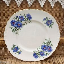 ROYAL VALE BONE CHINA 1960s CAKE PLATE - BLUE CORNFLOWER 7513 GILDED EDGE