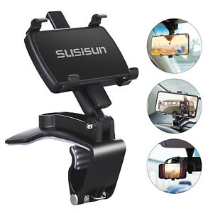 Car Mount Holder Dashboard Rearview Mirror Cradle Clip Stand For Cell Phone GPS