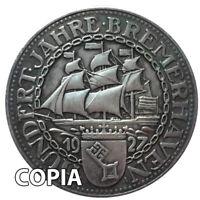 Moneta COPIA collezione Germania 1927 3 marchi centenario BREMERHAVEN porto