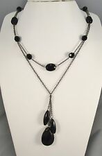 Claire's 2 Tiered Chains w Black Faceted Plastic Beads Dangling Necklace  #112
