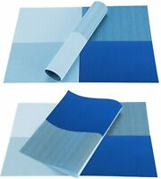 Set of 6 Placemats PVC Washable Woven Heat-Resistant Dinner Table Mats Blue