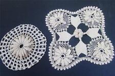Antique Crochet Lace Intricate Pillow Cover Decorative Doilies Raised Floral 2pc