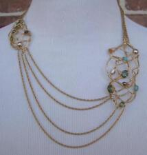 """Alexis Bittar Calder Nested Hammered Gold Necklace Multi Chain Stones 20.5"""" NICE"""