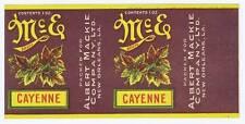 McE cayenne, vintage can label, Albert Mackie co. New Orleans LA