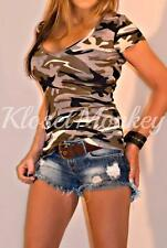 SEXY TAUPE CAMO CAMOUFLAGE V-NECK SLOUCH LOW CUT TEE SHIRT KNIT TOP S